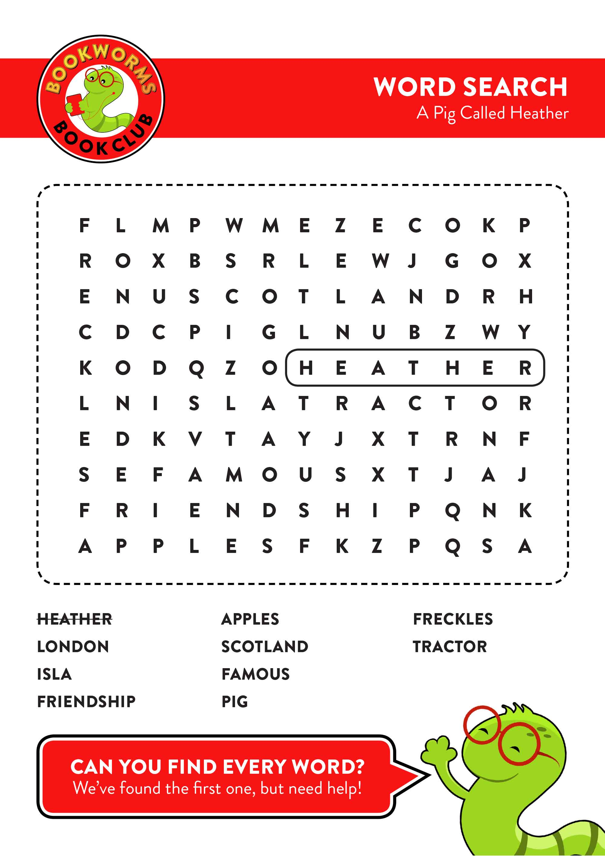 A Pig Called Heather Word Search
